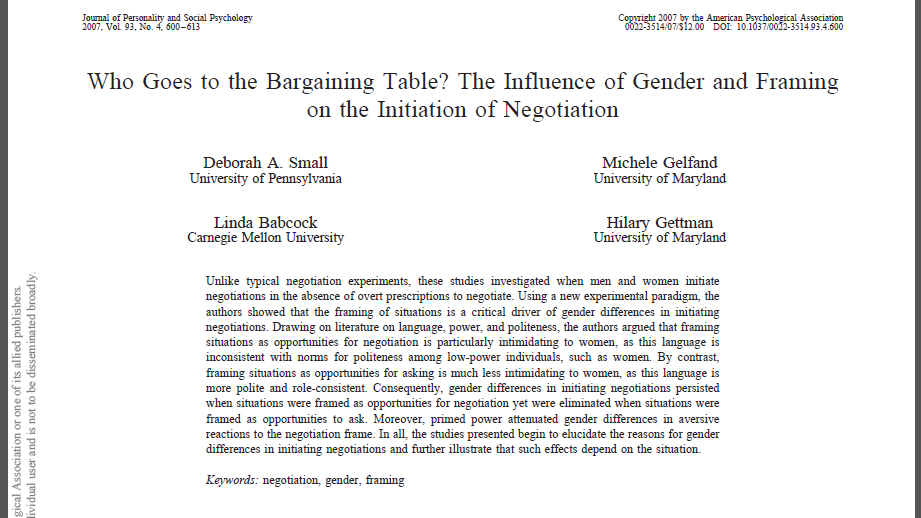 Who Goes to the Bargaining Table? The Influence of Gender and Framing on the Initiation of Negotiation