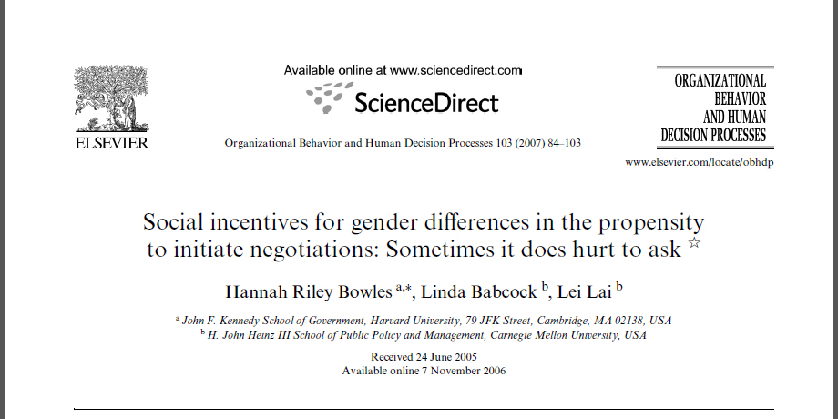 Social incentives for gender diVerences in the propensity to initiate negotiations: Sometimes it does hurt to ask