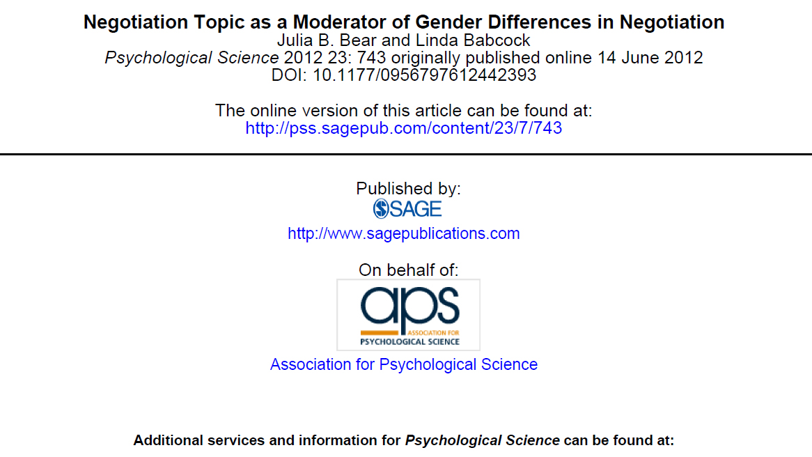 Negotiation Topic as a Moderator of Gender Differences in Negotiation